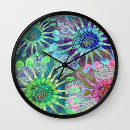 Abstract Passion Flower Burst Wall Clock