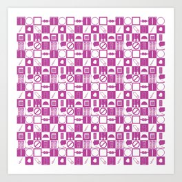 Contraception Pattern (Purple) Art Print