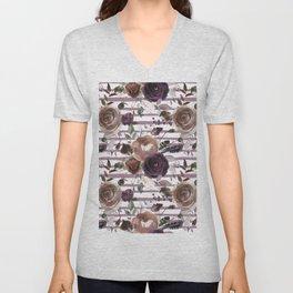 Lavender lilac brown watercolor botanical roses stripes Unisex V-Neck
