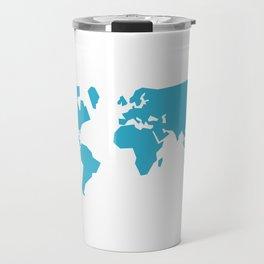 World map - teal Travel Mug