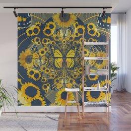YELLOW MONARCH BUTTERFLY & GREY MODERN FLORAL ART Wall Mural