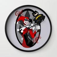 harley quinn Wall Clocks featuring Harley Quinn by Jordi Hayman Design