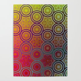 Pink, Purple, Yellow, and Orange Circles and Cogs Poster