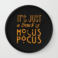hocus pocus Wall Clocks featuring Hocus Pocus by Pink Fox Designs