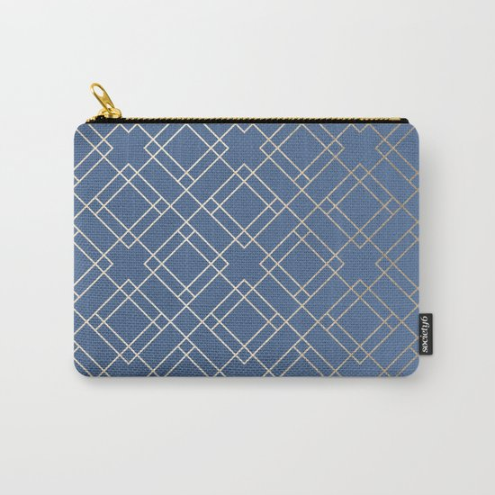 Simply Mid-Century in White Gold Sands on Aegean Blue Carry-All Pouch