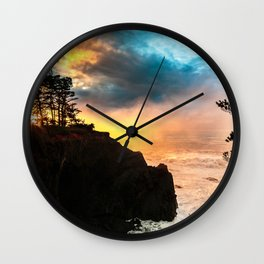 Sunset at Shore Acres State Park, Oregon Wall Clock