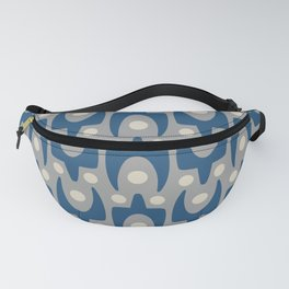 Mid Century Modern Abstract Pattern 147 Gray and Blue Fanny Pack
