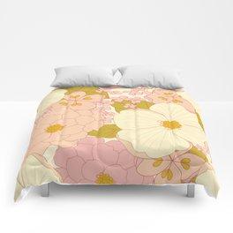 Pink Pastel Vintage Floral Pattern Comforters