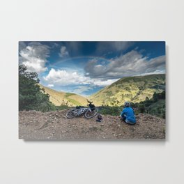 Cycling to the rainbow Metal Print
