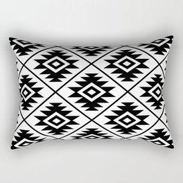 Aztec Symbol Pattern Black on White Rectangular Pillow