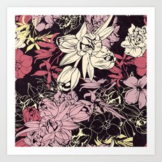 Spring flowers pattern. Narcissus, tulips and other, purple & orange. Art Print