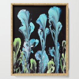 Blue Iris Flowers Serving Tray