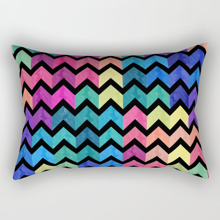 Watercolor Chevron Pattern VII Rectangular Pillow