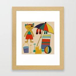 cat at the beach cream Framed Art Print