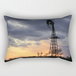Kansas Windmill Sunset Sillouette Rectangular Pillow