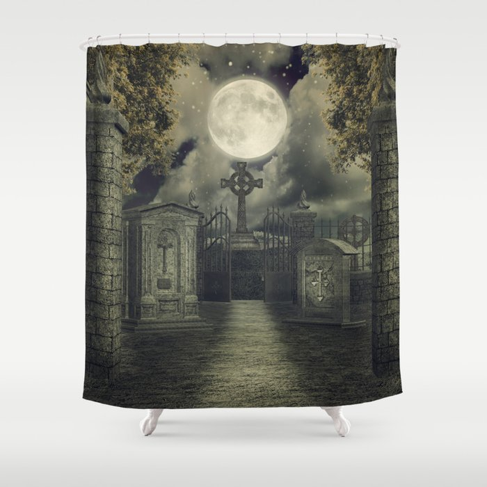 Graveyard 4 Cemetary Thombstone Creepy Scary Shower Curtain