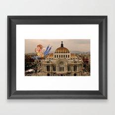 Lovers over Palacio de Bellas Artes Framed Art Print