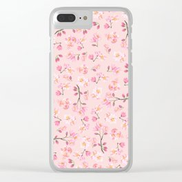 Cherry Blossom Pattern on Peach Background Clear iPhone Case