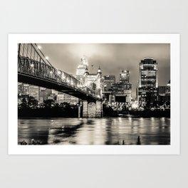 Cincinnati Ohio Skyline Cityscape Downtown - Monochrome Art Print