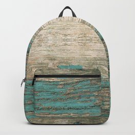 Rustic Wood - Weathered Wooden Plank - Beautiful knotty wood weathered turquoise paint Backpack