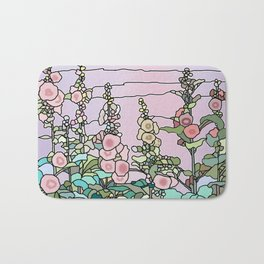 flowers and leaves on purple background, Home Decor Graphicdesign Bath Mat