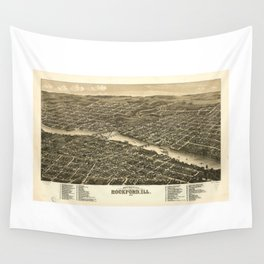 Bird's eye view of the city of Rockford, Illinois (1880) Wall Tapestry