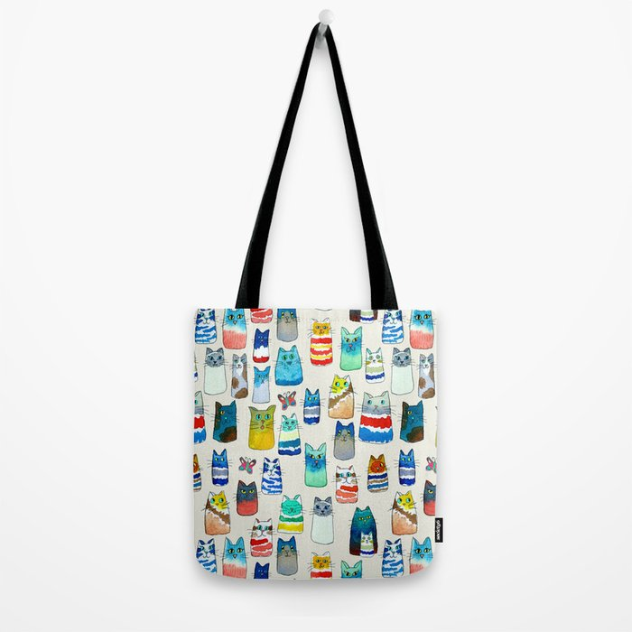 Lots of Watercolor Kitty Cats Tote Bag
