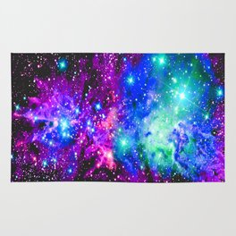 Fox Fur Nebula Galaxy Pink Purple Blue Rug