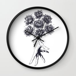 Hand with lotuses Wall Clock