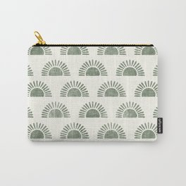 block print suns in sage Carry-All Pouch