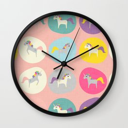 Cute Unicorn polka dots pink pastel colors and linen texture #homedecor #apparel #stationary #kids Wall Clock