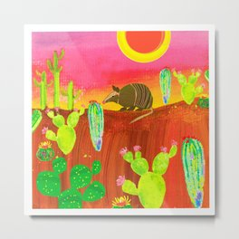Armadillo Sunset Metal Print