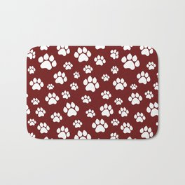 Puppy Prints on Maroon Bath Mat