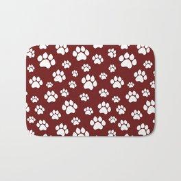 Puppy Prints on Maroon Bath Mat