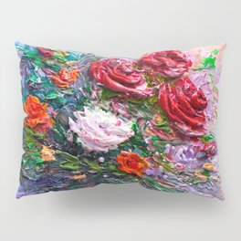 Oil painting a bouquet of flowers . Impressionist style. Pillow Sham