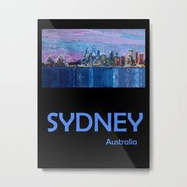 Retro Travel Poster Sydney Australia Metal Print