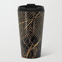 Black and gold Barcelona map Travel Mug