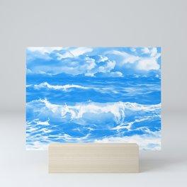 stormy sea waves reacwb Mini Art Print