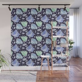 Modern abstract mint pastel purple floral illustration Wall Mural