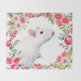 White Rat with Flowers Watercolor Floral Pattern Animal Throw Blanket