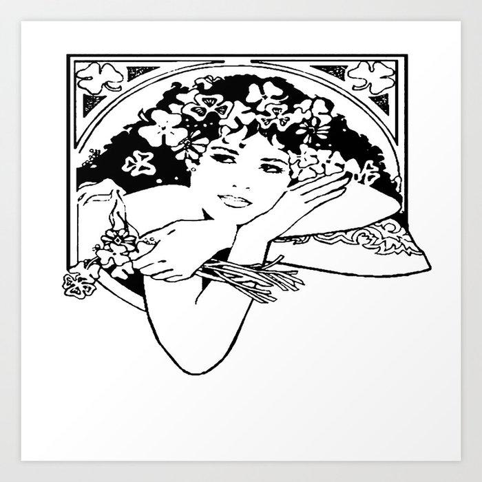 Line Drawing of Irish Woman Holding Shamrocks Art Print by taiche
