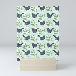 A Flurry Of Wings Spring Blackbird Pattern Mini Art Print