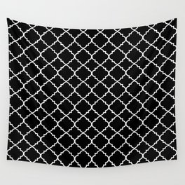 Black and White Moroccan Quatrefoil Wall Tapestry