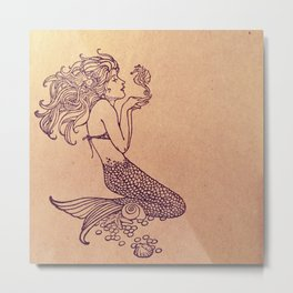 Mermaid Stamp Metal Print