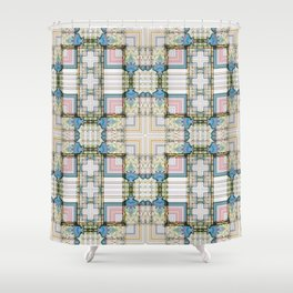 Multi Tiled Pastel Pattern Abstract Shower Curtain