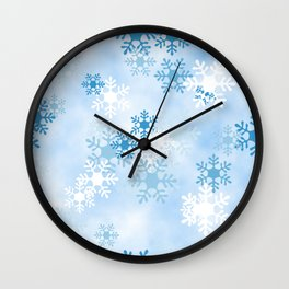 Blue White Winter Snowflakes Design Wall Clock