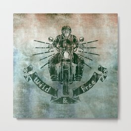 Wild and Free Motorbike Rider Metal Print