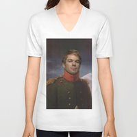 dexter V-neck T-shirts featuring DEXTER by Anthony Morell