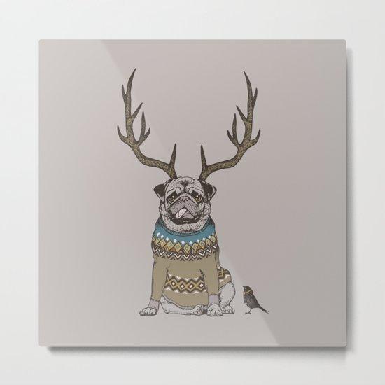 Deer Pug Metal Print