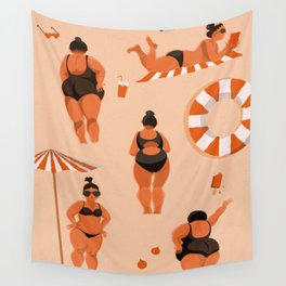 Orange women at the beach Wall Tapestry